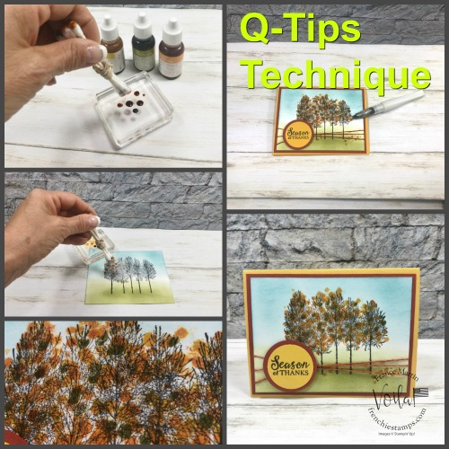 Q-Tips technique. Fun way to add color into your background or on stamped trees for leaves.