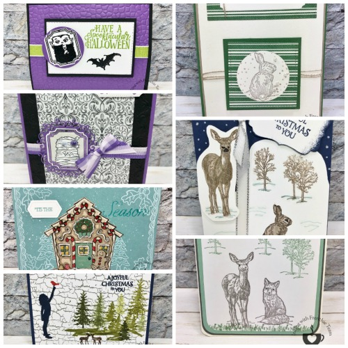 Showcase of cards using the 2019 Stampin'Up! Holiday product Spooktacular Bash bundle, Yummy Christmas, Nature's Beauty.