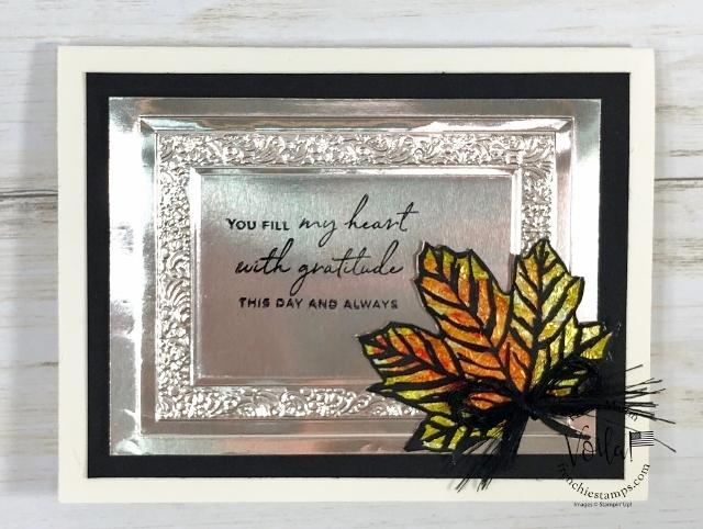 Stain Glass Foil Leaf on window Sheet. Stamp set Gather Together.