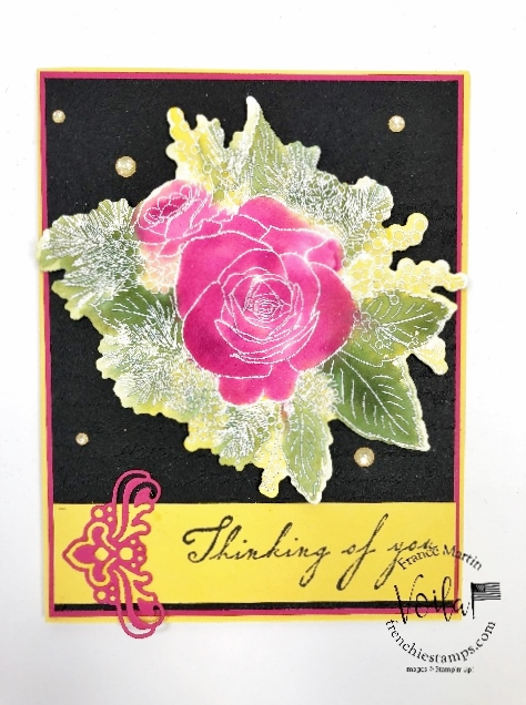 Christmas Rose limited edition stamp set. Technique is floating ink.