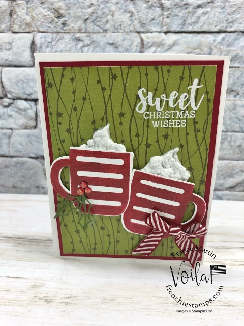 Cup of Christmas Reversible stamp. How to use the puff paint for whipped cream.