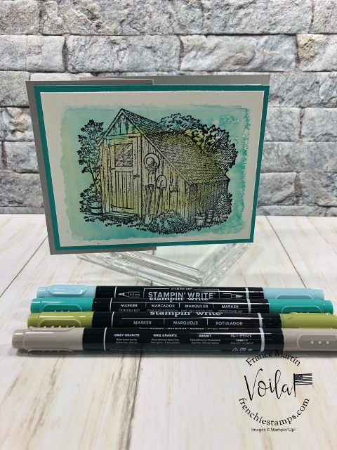 Clear Block with markers to add the colors. Stamp set Garden Shed.