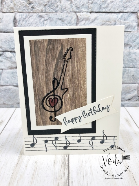 How to stamp a guitar with a note and  the neck from Music from the Heart stamp set.