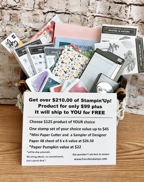 Join Frenchie team for $99 and get over $210 of Stampin'Up! products