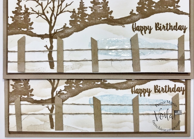 Vintage Snow Front Scenery with fencing.