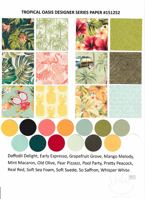 Tropical Oasis Designer Paper by Stampin'Up!. Chart with all prints and coordinate colors.