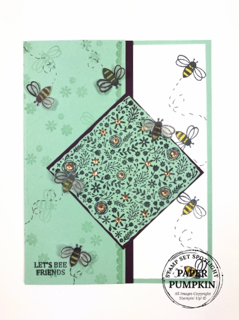 FREE download with 10 tutorial using the stamp set I'll Bee Yours  Stampin'Up! Paper pumpkin extra inspiration.
