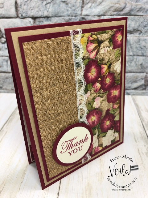 simple card with the Pressed Peal Designer paper and the Basket Weave embossing Folder.