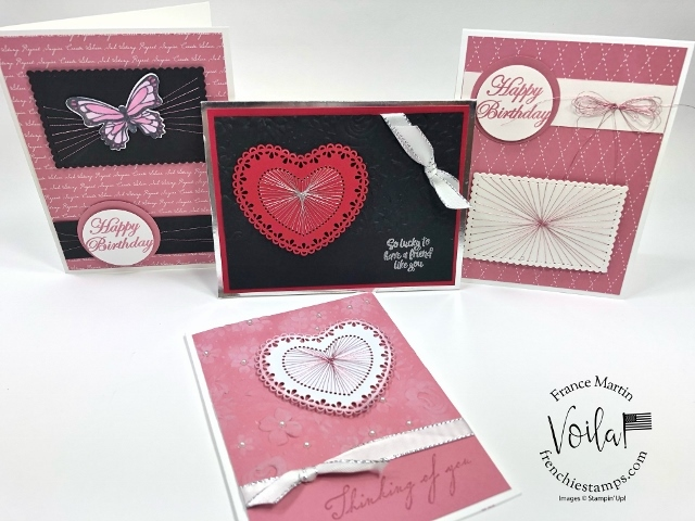 String Art with Stampin'Up! Heart Doilies and Stitched Dies.
