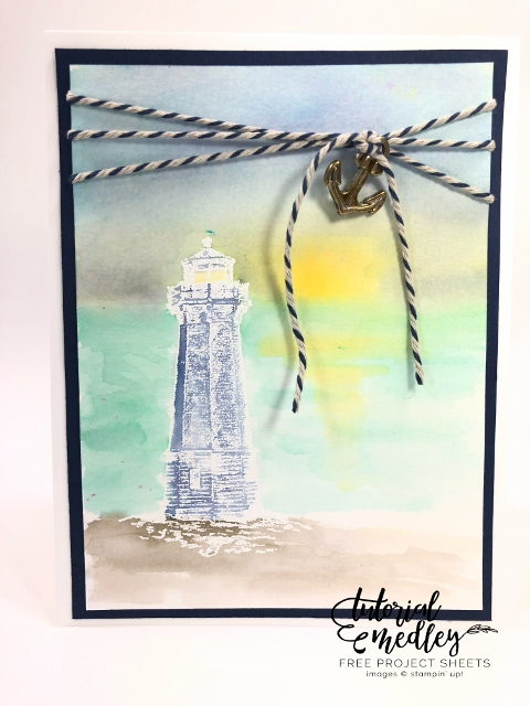 Watercolor Sunset scenery and Light House from Sailing Home stamp set.