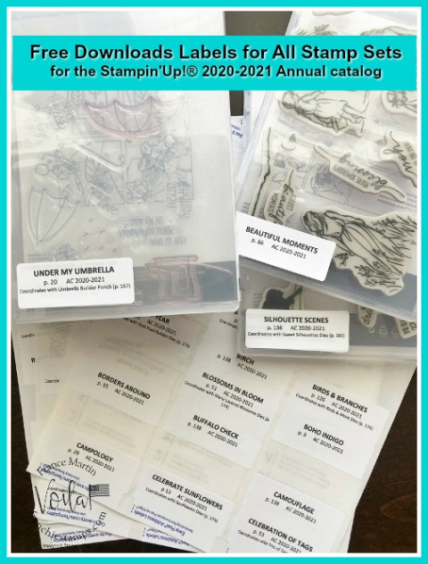 Organize your Stampin'Up! 2020-2021 Annual Catalog product with the free printable labels