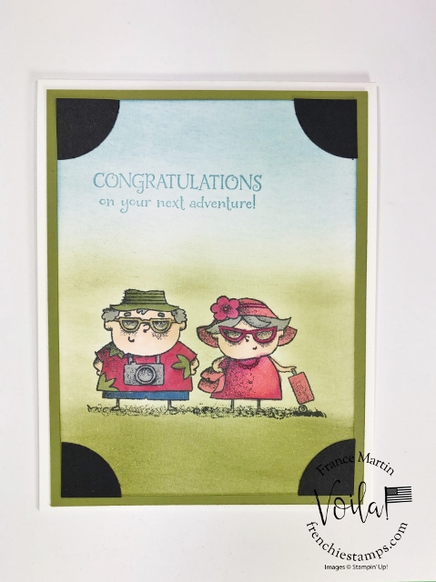On To Adventure simple Stampin' Blends Coloring and sponge background.