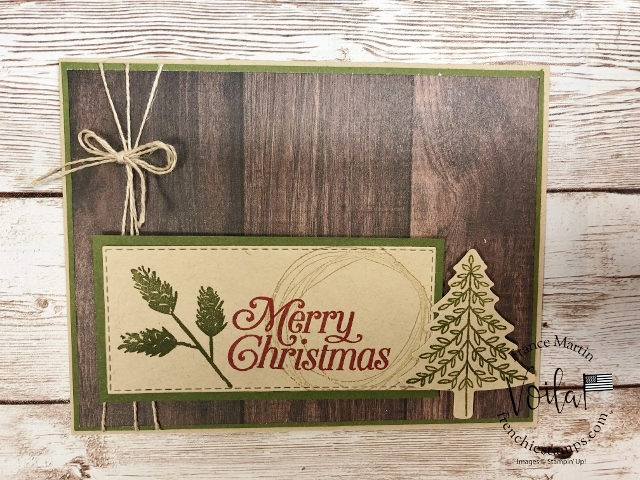 Christmas in July at Frenchiestamps. Vintage Christmas card with the stamp Set Comfort and Hope and Perfectly Plaid.