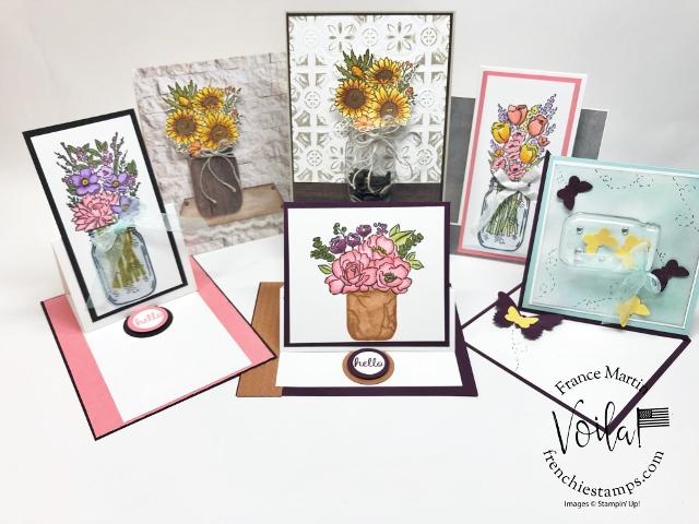 Jar of Flowers and Fun Fold Card Class Live