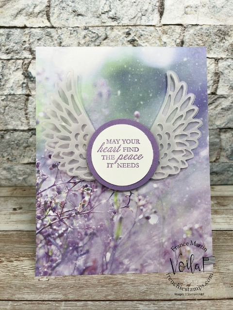 Detailed Dove Die for Sympathy Card on the Feels Like Frost Designer Paper.
