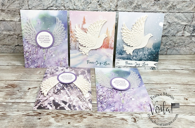 Detailed Dove Die for Christmas or Sympathy Card on Feels Like Frost Designer Paper.