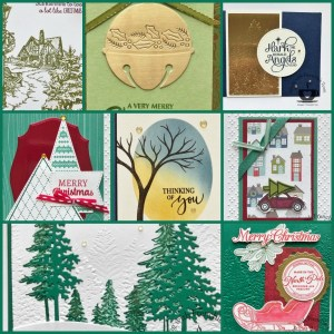 Holiday Catalog stamps and product showcase with Frenchie' Team