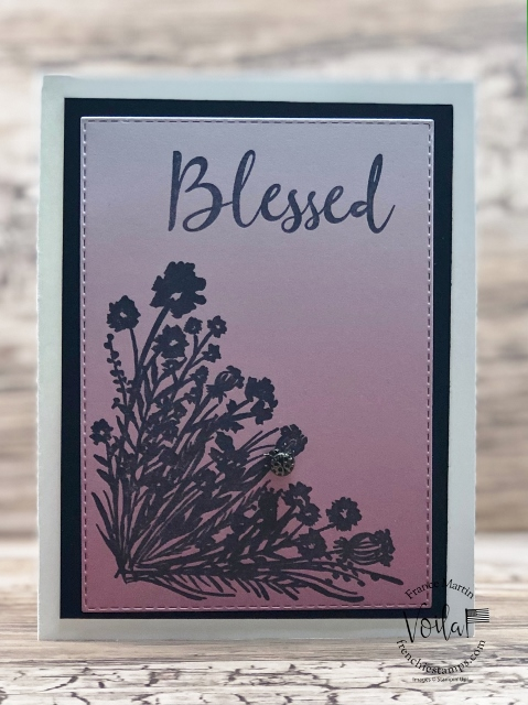 Simple card with the Oh So Ombre Designer paper and Corner Bouquet stamp se