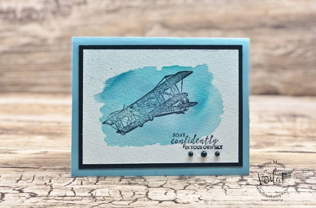 Watercolor Wash Background and the Soar Confidently stamp set for masculine card