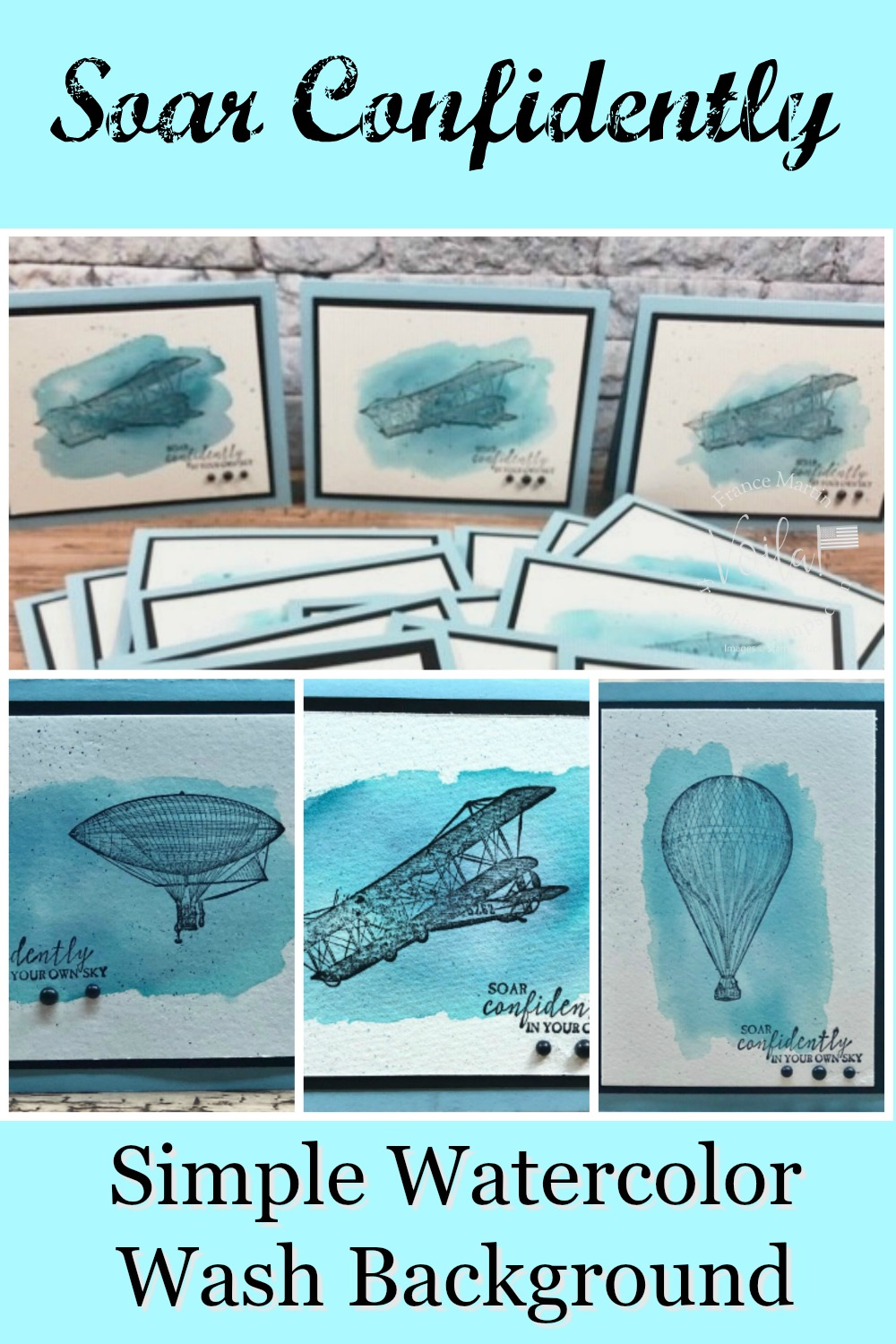 Watercolor Wash Background And Soar Confidently Stamp Set For A Masculine Card