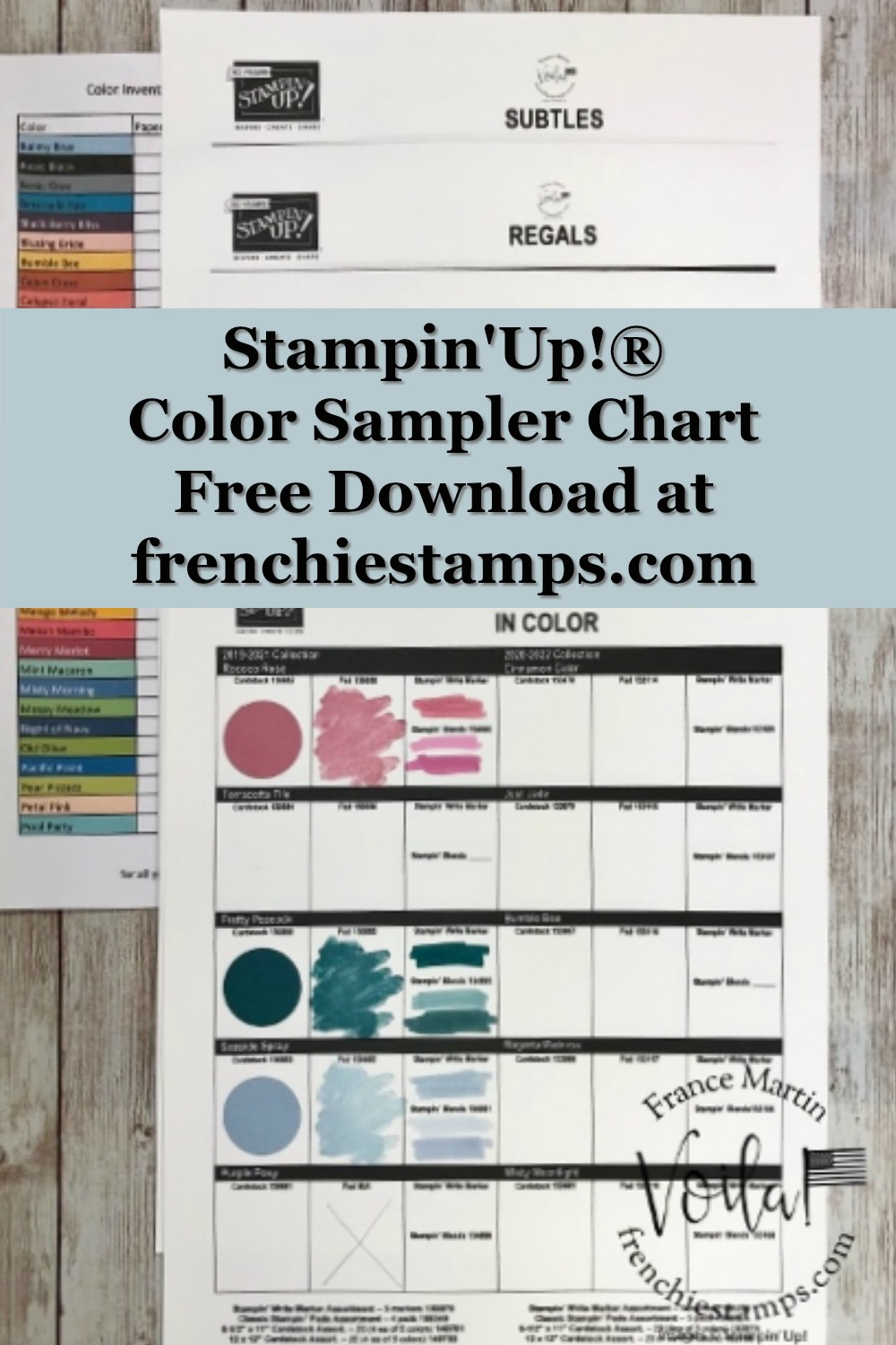 Color Sampler Chart and Color Inventory Sheet