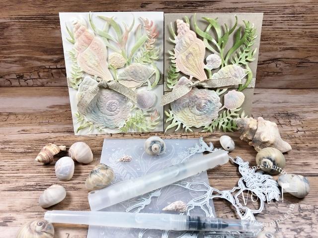 Watercolor with Seaside Seashells Dies, Seashells 3D embossing Folder.
