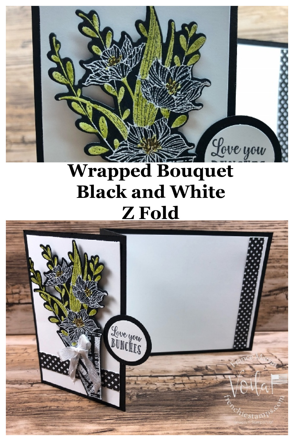 Wrapped Bouquet Z Fold In Black And White