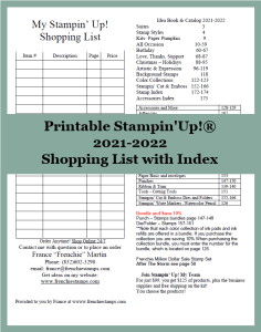 Shopping List and Index List for the 2021-2022 Stampin'Up! Annual Catalog.