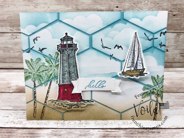 Tailored Tag Punch Ocean Scenery Patchwork card.