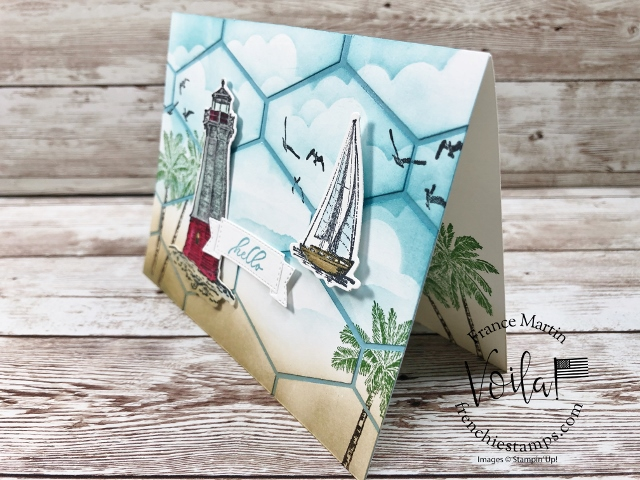 Tailored Tag Punch Ocean Scenery Patchwork greeting card.