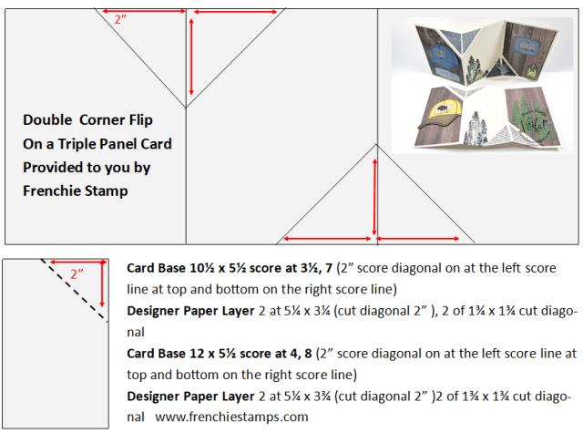 Template for a Fun Fold Double Flip Corner On Triple Panel Card.