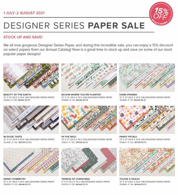 Stampin'Up! Designer Paper July 2021 sale.