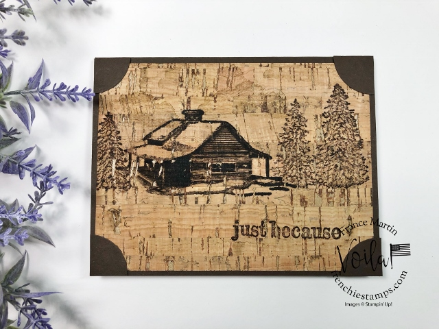 Stamping Tip For the Peaceful Cabin on cork paper