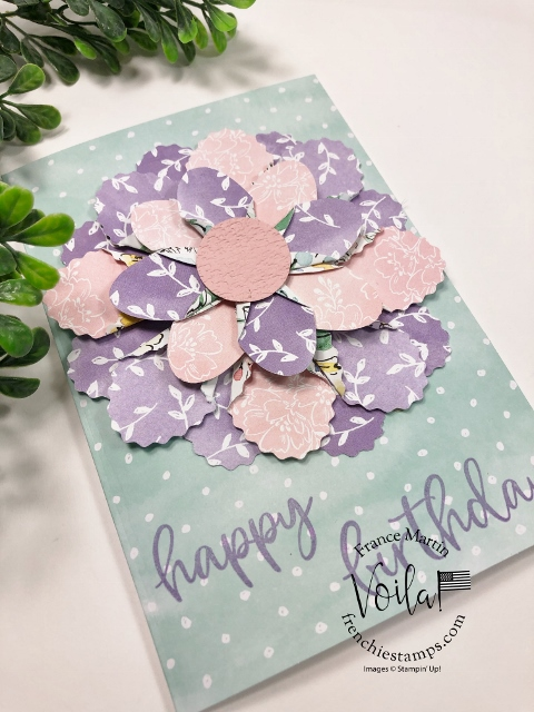 Punch Art Flower with double oval punch and designer paper