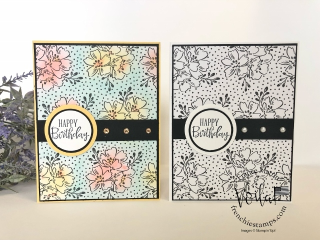 Tip to add color to the Beautifully Penned Designer Paper. Coloring with Ink, Blending Brushed, Stampin' Blends, Soft Pastel.