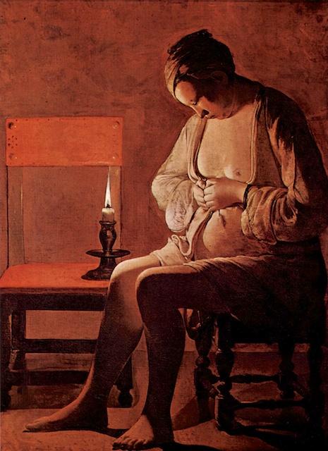 """""""La Femme à la puce"""", painting from Georges de la Tour, Lorraine Historic Museum, Nancy"""