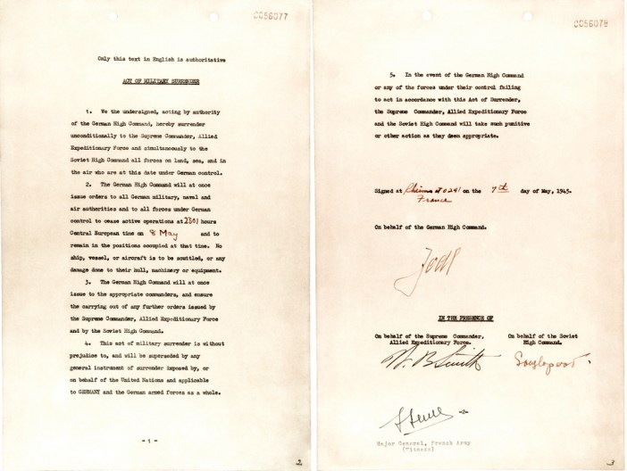 German Instrument of Surrender signed in Reims 7 May 1945 - Victory in Europe Day