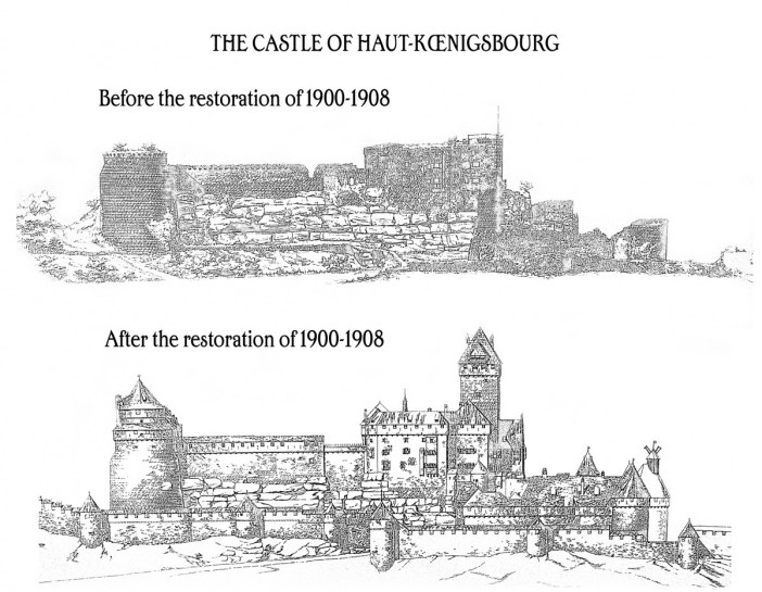 Before and after the restoration of Haut-Koenigsbourg