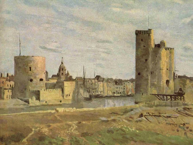The chain and St. Nicolas Towers of La Rochelle painted by Jean-Baptiste Camille Corot