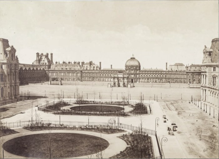 A photo from 1885 showing the Tuileries from the Louvre.
