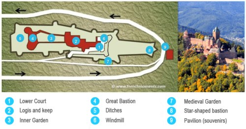 Map of the Haut-Kœnigsbourg castle © French Moments