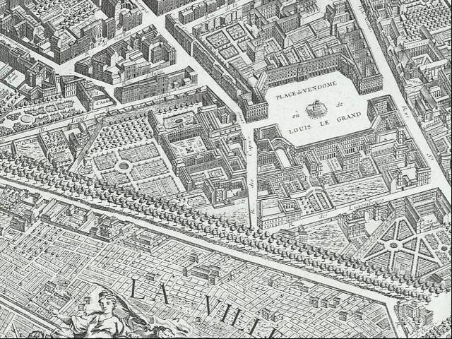Old map of Paris showing Place Vendôme