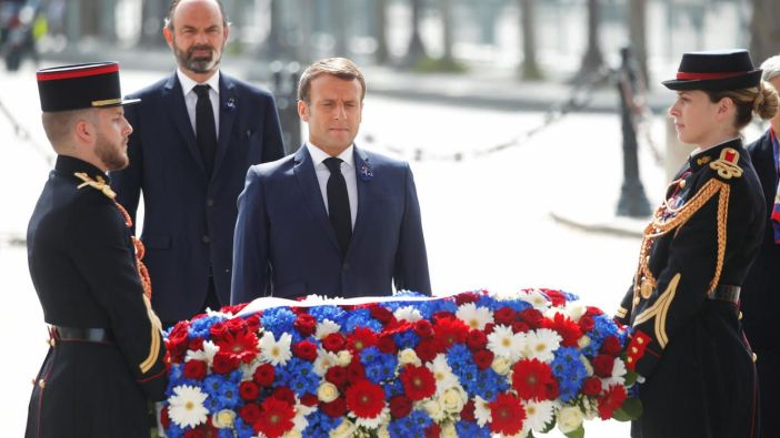 President Macron at the Tomb of the Unknown Soldier (Arc de Triomphe) on 8 May 2020