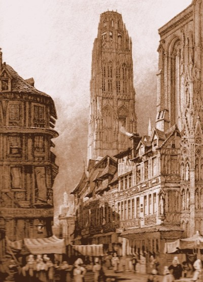 Rouen cathedral around 1830 (Tour de Beurre)