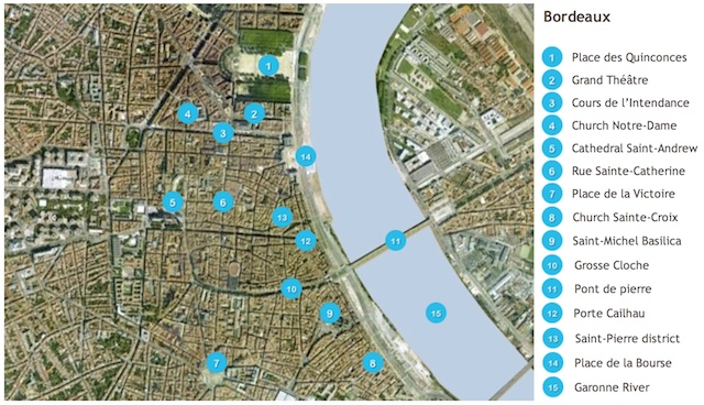 Map of Bordeaux by French Moments