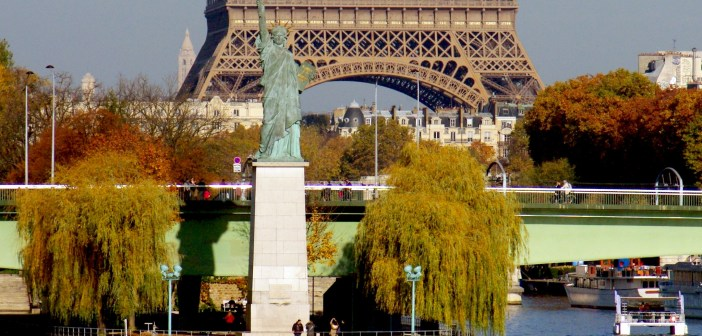 Statue of Liberty and Eiffel Tower from Pont Mirabeau Paris © French Moments
