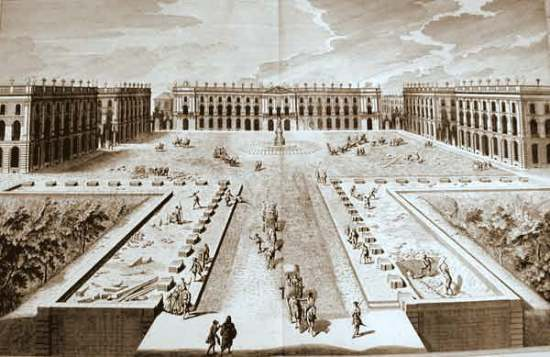 Place Stanislas under construction in the mid-18th c.