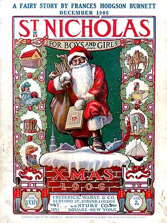 """A red-dressed Santa in 1906 on a Christmas card, still bearing his """"St. Nicholas"""" name!"""