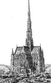 Beauvais engraving dating before 1573 showing the spire above the crossing of the transept