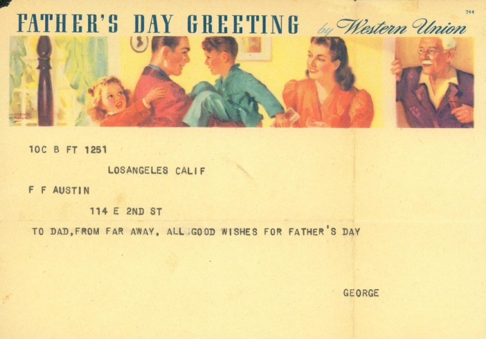 Father's Day Telegram circa 1941 © USMC Archives - licence [CC BY 2.0] from Wikimedia Commons